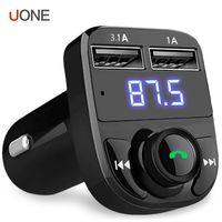 transmisor inalámbrico de audio para automóvil al por mayor-Reproductor de MP3 Kit FM Transmisor Aux Modulador inalámbrico Bluetooth manos libres para coche universal audio del coche con cargador de coche 3.1A de carga rápida con doble puerto USB