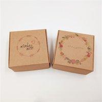 ручная розовая бумага оптовых-250 Шт. / Лот 6.5x6.5x3 см Коричневый Крафт-Бумага Картон Коробка Ручной Работы Отпечатано Спасибо Rose Bird Hearts Love Is Sweet Упаковка Подарочная Коробка