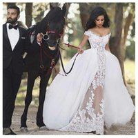 Wholesale stunning short sexy wedding dresses for sale - Group buy 2020 Stunning Lace African Wedding Dresses Detachable Train Boat Neckline Applique Open Back Country Wedding Reception Bridal Dress Robes