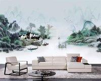natureza pintura a óleo venda por atacado-Beibehang Personalizado alguma tamanho Mural 3D Wallpaper pintura a óleo Natureza Ink paisagem Photo Fundo da parede 3d papel de parede piso 3d