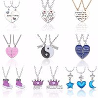 9a17cb46a2 2 PCS Best Friends Necklace Jewelry Yin Yang Tai Chi Pendant Necklaces  Black White Couples Paired Necklace For Men Women Gift