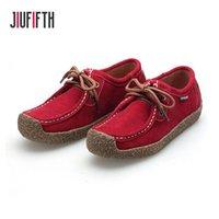 mocasines femeninos al por mayor-Holgazanes ocasionales de las mujeres mocasín Zapatos de señora Zapatos planos de las mujeres del ante de los zapatos de cuero genuino 2019 Mujer Mocasines otoño