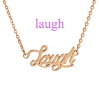charmes d'affirmation achat en gros de-Laugh Inspirational Citation Affirmation Collier pendentif mot charme bijoux