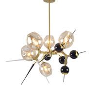 lampes de marbre vintage achat en gros de-Boules de verre lustre personnalité salle à manger salon lustres en or chambre moderne conduit créatif lumières en verre