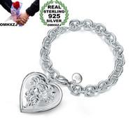 ingrosso braccialetti di spessore 925-OMHXZJ Personalità all'ingrosso Moda Donna Ragazza Regalo per feste Argento Fascino a forma di cuore Bracciale spesso in argento sterling 925 BR66