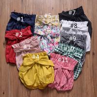bloomers harem pants toptan satış-Bebek Kız Yay Düğüm Fener Pantolon Yaz Çocuklar Tasarımcı Giyim Sıcak Satış Küçük Kızlar Düz Renk Kısa Pantolon Bloomers 11 renkler