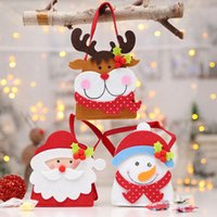 Wholesale light gray handbag resale online - Santa Snowman Elk Bear Gift Bag Holders Candy Chocolate Bag Handbag Package Pouches Christmas Decoration Supplies