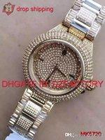 pavimentar relógios venda por atacado-Dropshipping serviço original japão movimento novo luxuoso mk5720 mk5862 mk5869 cristal incrustado pavimentar dial aço inoxidável ladies watch