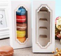 ingrosso imballaggio eco friendly cupcake-Confezione da 5 cassetti Confezione da imballo Scatola calda con nuova finestra per Macaron, Scatola da dolci, Confezione regalo W9965