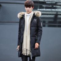 Wholesale korean fur hat men for sale - Group buy Korean Style Zipper Men Jacket Winter Parka Hat Detachable Mens Padded Jackets Fur Hoodies Solid Long Warm Overcoat