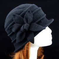 Wholesale vintage bucket hats resale online - Fashion Vintage Women Bucket Hat Solid Color Flower Decoration Autumn Winter Wool Cap Elegant Ladies Girls Hats Gifts XIN Shippi