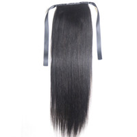 Wholesale ponytails online - 9A Ponytail Clips in Human Hair Extensions Horsetail Peruvian Malaysian Indian Brazilian Virgin Remy Straight Hair Natural Color Blonde