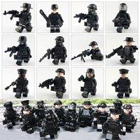 brinquedo militar venda por atacado-12 pçslote Polícia Militar Táticas Forças Especiais de Assalto Polícia COD SWAT Figura com Armas Brinquedo de Construção de Bloco de Construção para crianças
