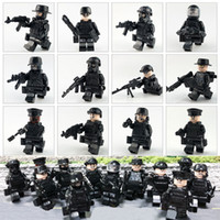Wholesale special block for sale - Group buy 12pcs Military Police Special Forces Tactics Assault Police COD SWAT Figure with Weapons Building Block Construction Toy for Children