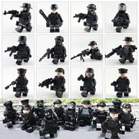 blocos de construção militares de brinquedo venda por atacado-12pcs lote da polícia militar das Forças Especiais Táticas assalto Figura Polícia COD SWAT com armas Edifício Toy Bloco Construção for Children