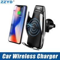 suportes de telefone montados no ventilador venda por atacado-Titular de Carregamento do carro automático 10 W Carregador de Carro Sem Fio Rápido Inteligente Air Vent Mount Car Phone Suporte Móvel para Samsung iPhone