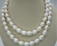 Wholesale gold natural south sea pearls resale online - Natural inch mm South Sea White Pearl Necklace k yellow gold clasp