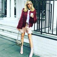 ingrosso ginocchiere d'oro-Inverno Designer Womens Pelliccia solido Colore Scollo a V a maniche lunghe Womens Outerwear allentato Sexy Ladies cappotti di pelliccia