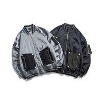 ingrosso giacche cargo nere-Mens Tasche Casual Via inverno allentato nero di baseball cappotti del rivestimento contrasto di colore Patchwork nuovo carico Maschio Autunno Inverno Cappotti