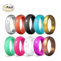 Wholesale wide band diamond wedding ring resale online - 10 Pack wide silicone rings women silicone wedding bands with diamond Fashion