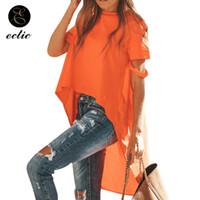 Wholesale cap vetement resale online - Irregular T Shirt Wowan Solid Color Vetement Femme Long Back Short Front Tops Ripped T Shirts Kawaii Plus Size Fashion T200110