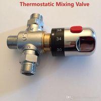 termostato de latão venda por atacado-Brand New Brass Control a Válvula de Termostato De Mistura de Temperatura da Água Termostática Válvula de Mistura de Mistura