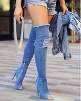ingrosso jeans sopra-Pista di denim blu sopra gli stivali al ginocchio sexy open toe tacco alto donna della coscia i jeans sottili tacchi alti più nuovi