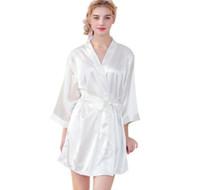 chemise de nuit en soie grande taille achat en gros de-2019 New Nordic Womens Nightgowns Satin Soie Embroidey Bride Robes De Bridemaid Femmes Womens Peignoir Kimono Plus La Taille