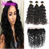 Brazilian Human Hair 3 Bundles With 13X4 Lace Frontal Water Wave Hair Extensions Bundles With Lace Frontal 4 Pieces lot