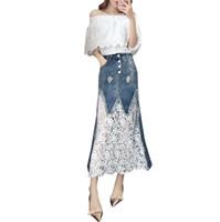 design chic großhandel-späteste Kleidung der neuen Frauen des Entwurfs 2019 koreanischer Schrägstrichansatz weg vom Schulterkleid chic zweiteiliger Rockdenimrock stellte zweiteiliges Kleid ein