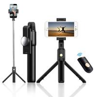 entfernte mobile kamera groihandel-Bluetooth Selfie Stick Mini Stativ Ausziehbare faltbare Einbeinstativ Fernbedienung Selfie-Stange Handy-Universal-Live-Kamera Multifunktions
