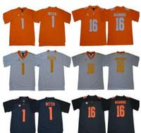 jerseys de futebol frete grátis venda por atacado-Mens NCAA Tennessee Volunteers Jersey 1 Jason Witten 16 Peyton Manning costurado College Football Jerseys de alta qualidade grátis