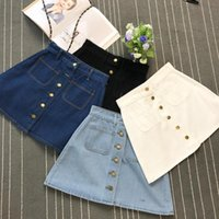 c76e0a98acb3 On Sale 2019 Summer Womens Ladies A-line Jeans Short Button Waist Denim  Pockets Skirt Harajuku Mini High Quality Jean C19041901
