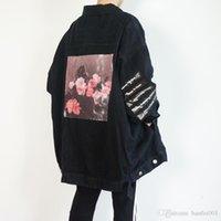 chaqueta de pasarela al por mayor-Raf Simmons 18ss Chaqueta de mezclilla Camisa Cinta de PVC Asap Chaqueta de manga larga de estilo rocoso Pasarela Mostrar producto Envío gratis Hflsjk098