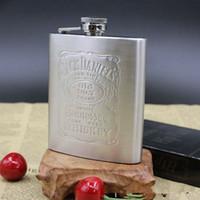 balão de whisky prata venda por atacado-Garrafa de uísque de aço inoxidável vinho Hip Flask 7 onças de viagem de álcool Whisky Pocket Hip Flask prata Whisky garrafas de álcool