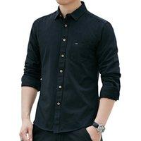 camisas de vestir oxford para hombre al por mayor-2019 Nueva llegada Moda Oxford para hombre Marca Camisas casuales Hombre Camisa de vestir de manga larga Color sólido Camisas formales para hombre