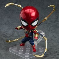 Wholesale big spiderman doll online - The Avengers Action Figures Spiderman Doll Iron Clay Man Q Version Lovely Child Birthday Present dmd F1