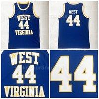 oeste camisa de basquete venda por atacado-NCAA Faculdade de Basquete 44 Jerry West Jersey Homens Universidade West Virginia Mountaineers Jerseys Respirável Para Os Adeptos do Esporte Frete Grátis