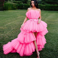einzigartiges fuchsia high low prom dress großhandel-2019 New High Low Prom Kleider mit abnehmbarem Zug Unique Tiered Tüllrock Abendkleid Pink Fuchsia Formal Party