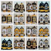 patrice bergeron schwarzes eis jersey großhandel-Vintage CCM 75. Boston Bruins 33 Zdeno Chara Jersey genäht 37 Patrice Bergeron 28 Mark Recchi Eishockey Trikots für Mann schwarz weiß