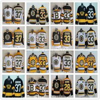 patrice bergeron black ice jersey venda por atacado-Vintage CCM 75 Bruins de Boston 33 Zdeno Chara Jersey Costurado 37 Patrice Bergeron 28 Marca Recchi Hóquei de Gelo Jerseys para Homem Preto Branco