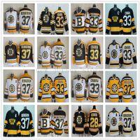 patrice bergeron siyah buz forması toptan satış-Vintage CCM 75th Boston Bruins 33 Zdeno Chara Forması Dikişli 37 Patrice Bergeron 28 Mark Recchi Buz Hokeyi Formaları Adam Siyah Beyaz