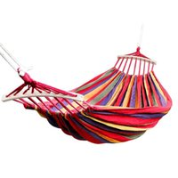 Wholesale canvas double swing for sale - Group buy Double Hammock Lbs Portable Travel Camping Hanging Hammock Swing Lazy Chair Canvas Hammocks Red