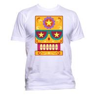nuevos diseños de la camisa amarilla al por mayor-Sugar Skull Yellow Coloured With Star Design T-Shirt para mujer Unisex Moda Tamaño Discout Hot New Tshirt Tees camiseta personalizada Jersey