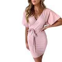 envolva uma peça venda por atacado-Pop Mulheres One-peças Vestido V Collar Hip Envolto Vestido Com Tiras Para O Verão Cgu 88