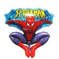 ingrosso palloncini rossi-Giochi per bambini Spiderman palloncini giocattolo alluminio Felice Spiderman palloncino rosso per la cerimonia nuziale di compleanno per feste Decorazione Cartoni Foil Ballon