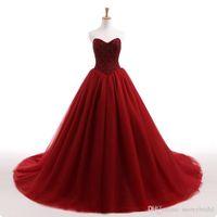 loja de roupas de noiva de renda branca venda por atacado-2019 New Gothic Dark Red vestido de baile vestido de noiva de tule frisado Top espartilho de volta saia de tule não branco colorido vestidos de noiva Custom Made