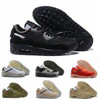 badminton ayakkabı markası toptan satış-2019 Yeni Siyah Beyaz Çöl Tasarımcı Sneakers Kadınlar Için Klasik 90 Erkek Koşu Ayakkabıları Spor Erkek Eğitmenler Marka 90 s Chaussures Boyutu 12