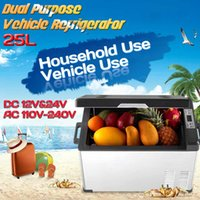 Wholesale mini ac cooler for sale - Group buy 25L Car Refrigerator Compressor Universal DC V V AC V V Dual use Mini Fidge Cooler Frezzer Box Degrees