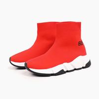 vestidos de inverno preto vermelho para meninas venda por atacado-Sapatos de meias garoto preto menino vermelho moda tênis de corrida primavera verão outono inverno vestido muito agradável versão original enviar com caixa